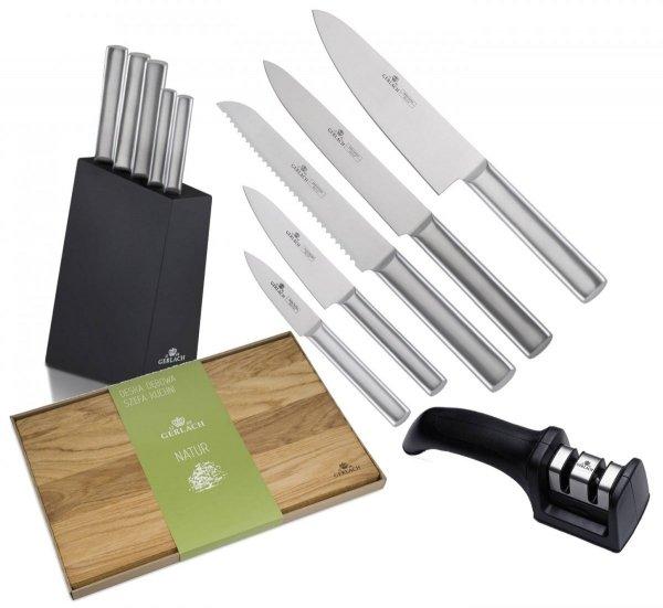 Noże Gerlach 983 Ambiente Silver zestaw noży + blok + Deska Gerlach Natur 45x30 cm + Ostrzałka Gerlach dwufazowa