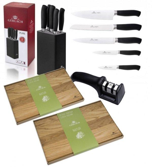 Zestaw noży Gerlach Pure - 5 noży 982 + ostrzałka Gerlach NK 606 + Deska Gerlach 30x24 i 45x30