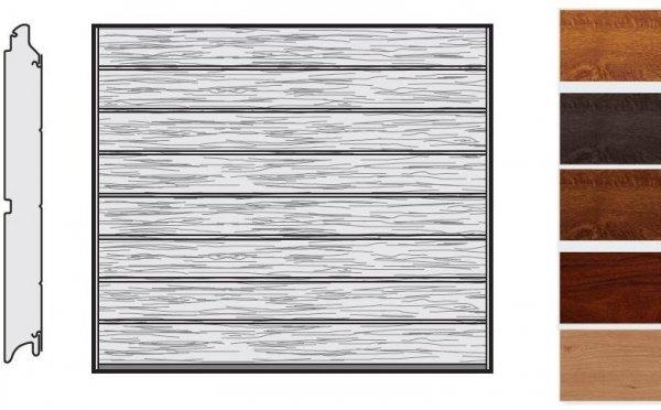Brama LPU 42, 2440 x 1955, Przetłoczenia M, Decograin, okleina drewnopodobna