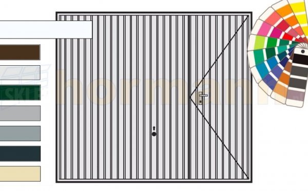 Brama uchylna N 80, 3000 x 2000, Wzór 902 z drzwiami, kolor do wyboru