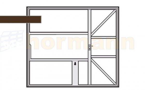 Brama uchylna N 80, 2375 x 2250, Wzór 905 z drzwiami, do wypełnienia