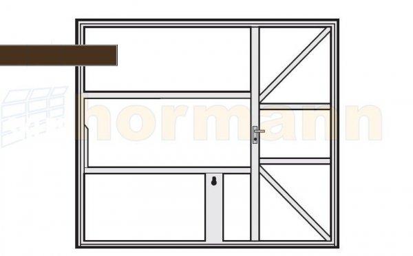 Brama uchylna N 80, 2375 x 1920, Wzór 905 z drzwiami, do wypełnienia