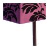Lampa stołowa mozaika. Klosz wykonany jest z mocnego materiału w kolorze fioletowym w czarne wzory a podstawa z metalu. Rozmiar: 33 x 22 x 65cm. Oprawka: E27 (standardowa żarówka). Napięcie robocze: 230V.