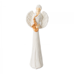 Anioł z saksofonem. Kolor anioła biały, kolor saksofonu brązowo-złoty. Wysokość 40.5 cm