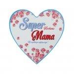 Drewniana tabliczka w kształcie serca Super Kochana Mama