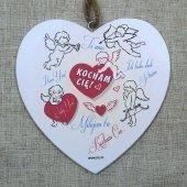 Drewniana tabliczka w kształcie serca z napisem 'Kocham Cię'.Wzór 73. Rozmiar 10 cm