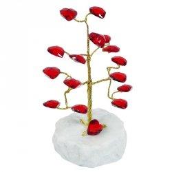 Drzewko szczęścia 'Z sercami'. Podstawa z marmuru. Wysokość: 13 cm.