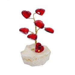 Drzewko szczęścia 'Z sercami'. Podstawa z marmuru. Wysokość: 8 cm.