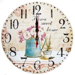 Zegar ścienny drewniany, kwiaty w doniczce