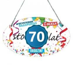 Drewniana tabliczka w kształcie owalu druk UV z napisem Wszystkiego najlepszego z okazji 70 lat