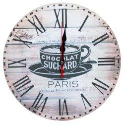 Zegar ścienny drewniany, filiżanka