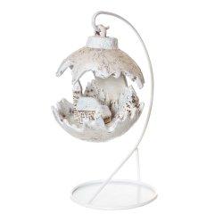 Kula świąteczna mała LED/kościół - ecru-papier