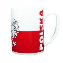 Kubek ceramiczny biało-czerwony z orłem
