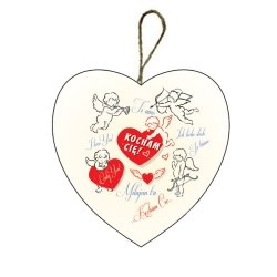Drewniana tabliczka w kształcie serca 7 cm z napisem 'Kocham Cię'