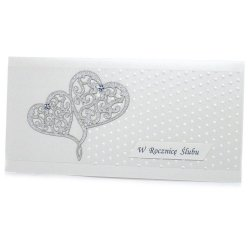 Kartka W Dniu Ślubu, dwa srebrne serca