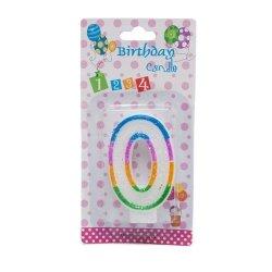 Świeczka cyferka urodzinowa z brokatem 0