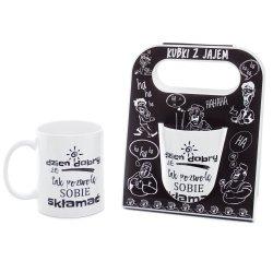 Kubek ceramiczny z napisem 'Dzień dobry, że tak pozwolę ...' , w ozdobnym czarnym opakowaniu