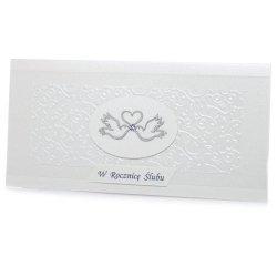 Kartka W Dniu Ślubu, dwa srebrne gołąbki