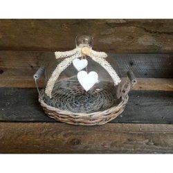 Patera szklana z wiklinowym koszem