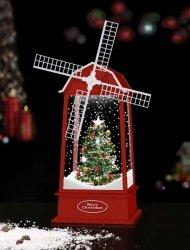 Latarenka wiatrak bożonarodzeniowa z choinką