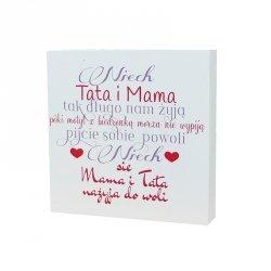 Drewniana tabliczka kwadrat Niech Mama i Tata tak długo nam żyją...