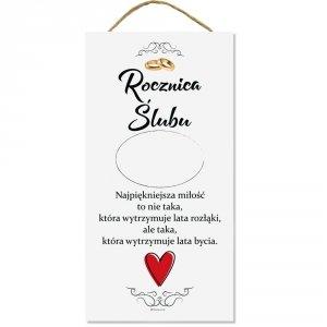 Drewniana tabliczka prostokąt wzbogacona lakierem UV z napisem Rocznica Ślubu