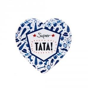 Ceramiczna tabliczka w kształcie serca Super Tata