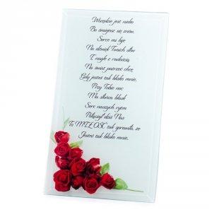 Ramka szklana z wierszykiem Wszędzie jest niebo bo śmiejesz się znów...