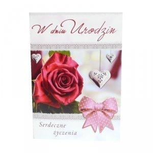 Kartka W Dniu Urodzin, róża i wstążka