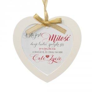Ramka szklana serce zawieszka z napisem O to jest miłość, dwoje ludzi spotyka się przypadkiem...