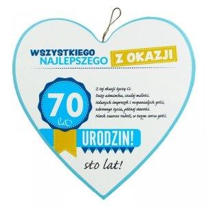 Drewniana tabliczka 4 cm 70 urodziny w kształcie serca Wszystkiego najlepszego z okazji 70 urodzin... Biała