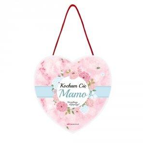 Drewniana tabliczka owal wzbogacona lakierem UV z napisem Kocham Cię Mamo