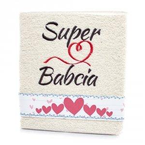 Ręcznik haftowany Super Babcia, kolor ecri