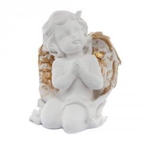 Anioł podparty, złote skrzydła. Rozmiar 6x11cm