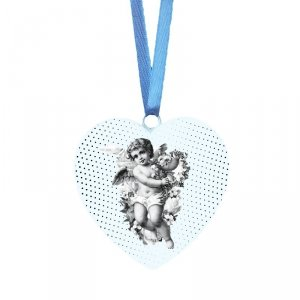 Drewniana tabliczka w kształcie serca Aniołek