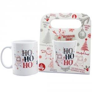 Kubek ceramiczny w świątecznym opakowaniu z napisem HO HO HO