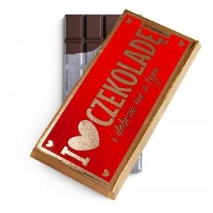 Czekolada mleczna w złotym opakowaniu I love czekoladę i dobrze mi z tym czerwona