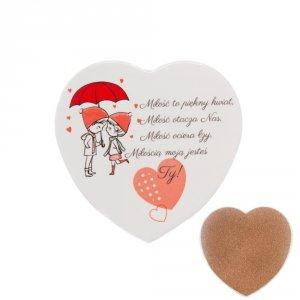 Ceramiczna podkładka pod kubek z napisem  Miłość to piękny kwiat...