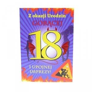 Kartka Z Okazji 18 Urodzin, kolor żółty, gorąca osiemnastka