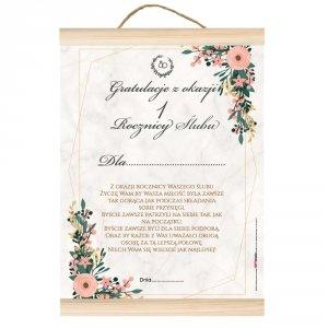 Dyplom gratulacje z okazji 1 rocznicy ślubu.  Z okazji rocznicy ślubu życzę Wam by Wasza miłość była zawsze tak gorąca jak przy składaniu przysięgi...