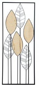 DEKORACJA ŚCIENNA LIŚCIE W RAMIE METALOWE 40x2,5x100cm