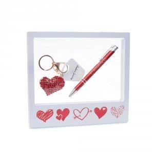 Ramka z okienkiem - zestaw prezentowy - brelok, długopis