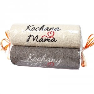 Ręczniki ecru i szary cukierek z haftem Kochana Mama Kochany Tata