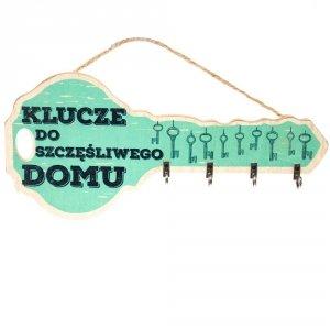 Tabliczka drewniana klucz z napisem Klucze do szczęśliwego domu, kolor zielony