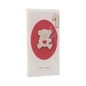 Kartka na 1 urodziny, miś sklejka dekor owal, czerwony