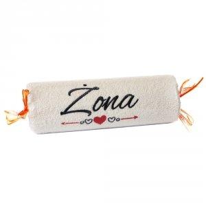 Ręcznik ecru cukierek z haftem Żona