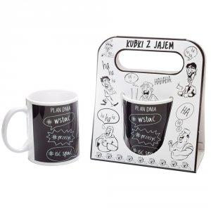 Kubek ceramiczny z napisem 'Plan dnia: wstać , przeżyć, iść spać  ' kolor czarny ,w ozdobnym białym opakowaniu