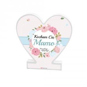 Drewniana tabliczka serce z podstawką wzbogacona lakierem UV z napisem  Kocham Cię Mamo...