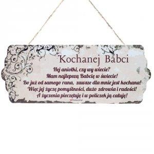 Drewniana tabliczka wzbogacona lakierem UV z napisem  Kochanej Babci...