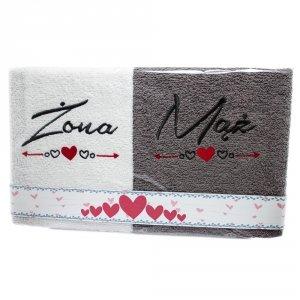 Komplet ręczników  ŻONA - MĄŻ  kolor biało-szary